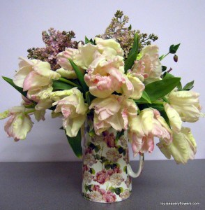 tulips.  pale pink parrot tulips & pale pink lilac in a vintge ceramic jug