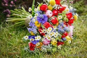 multicolour bouquet including blue cornflowers