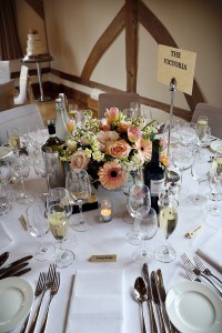 Peachy, pink table centre