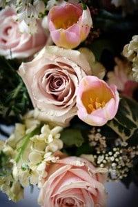 peachy,pink roses & tulips